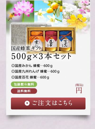国産蜂蜜ギフト500g×3本セット