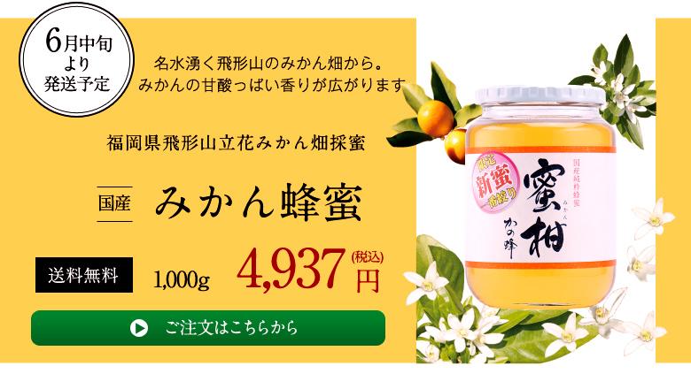 名水湧く飛形山のミカン畑から。みかんの甘酸っぱい香りが広がります。国産ミカン蜂蜜1000g4937円