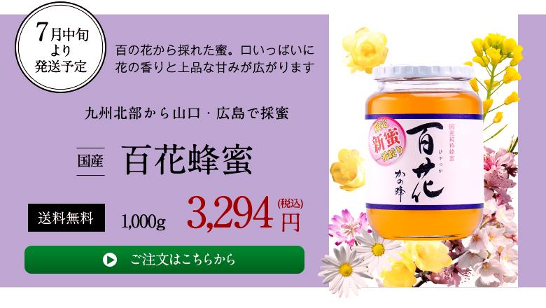 7月中旬より発送予定、百の花から採れた蜜。口いっぱいに花の香りと上品な甘みが広がります。国産百花蜂蜜1000g3294円