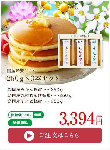 国産蜂蜜ギフト250g×3本セット