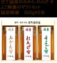 国産蜂蜜 みかん・れんげ・そよご蜂蜜 250g×3本